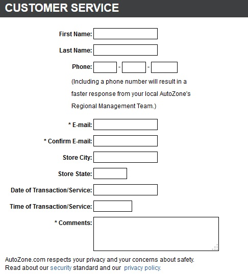 Auto Zone Customer Service USA Contact Form – Customer Contact Form Template